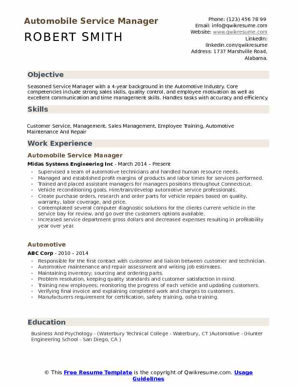 automotive service manager job description resume - Canasbergdorfbib