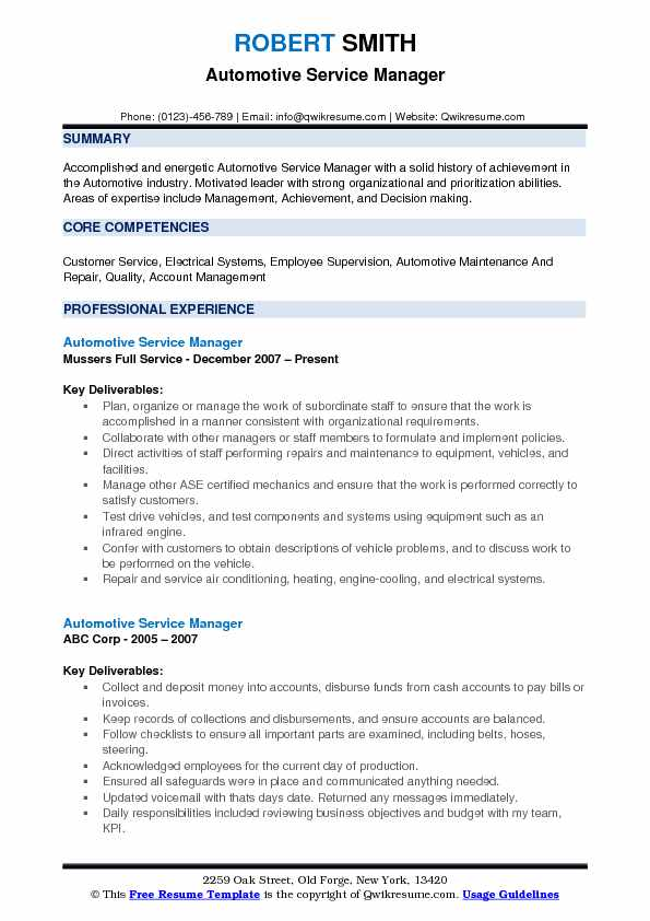 example of automotive service manager resume