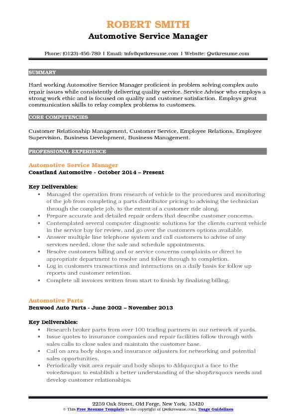 Automotive Service Manager Resume Samples QwikResume