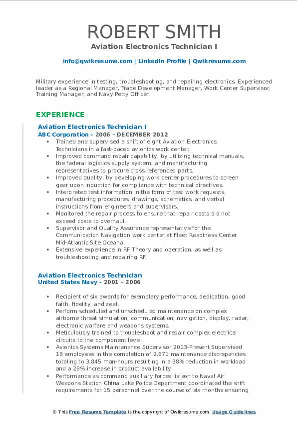 sample aviation electronics technician resume