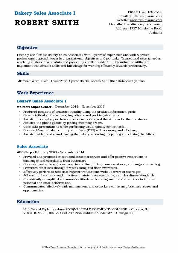 Bakery Sales Associate Resume Samples QwikResume