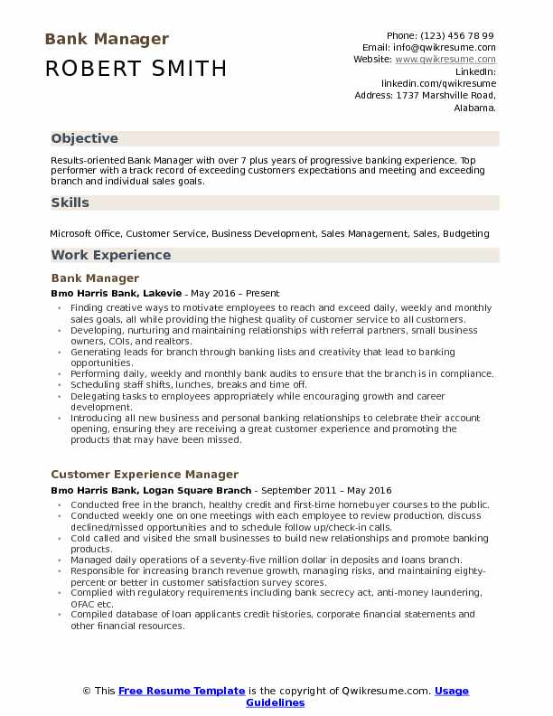 Bank Manager Resume Samples QwikResume