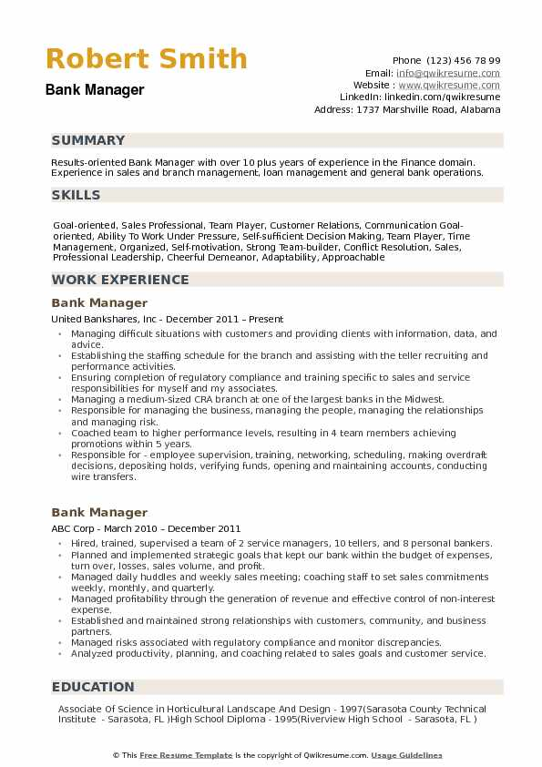 resume examples for bank manager