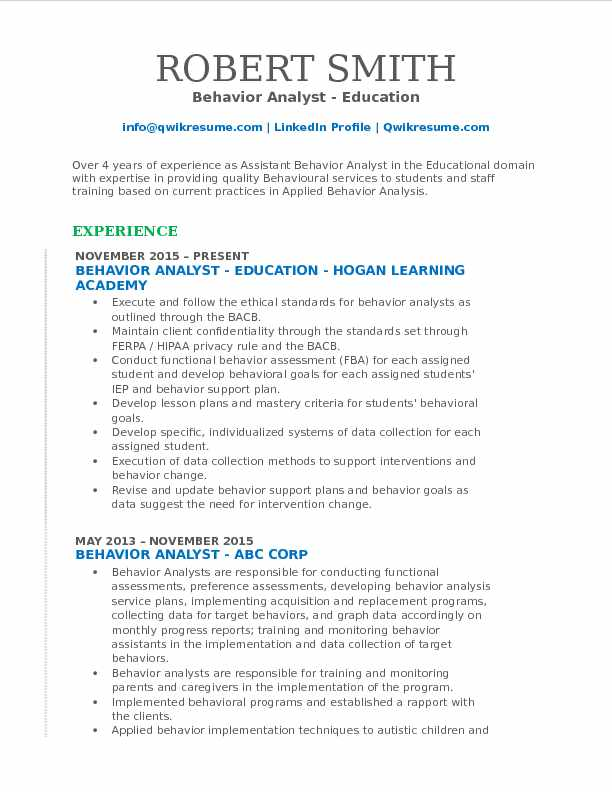 Behavior Analyst Resume Samples QwikResume - Educational Resume Format