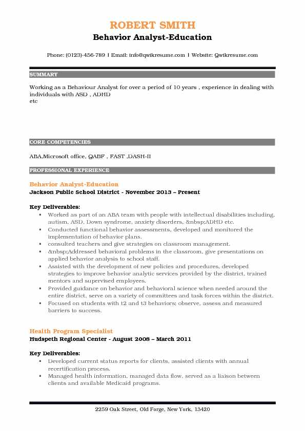 Behavior Analyst Resume Samples QwikResume - Behavior Intervention Specialist Sample Resume