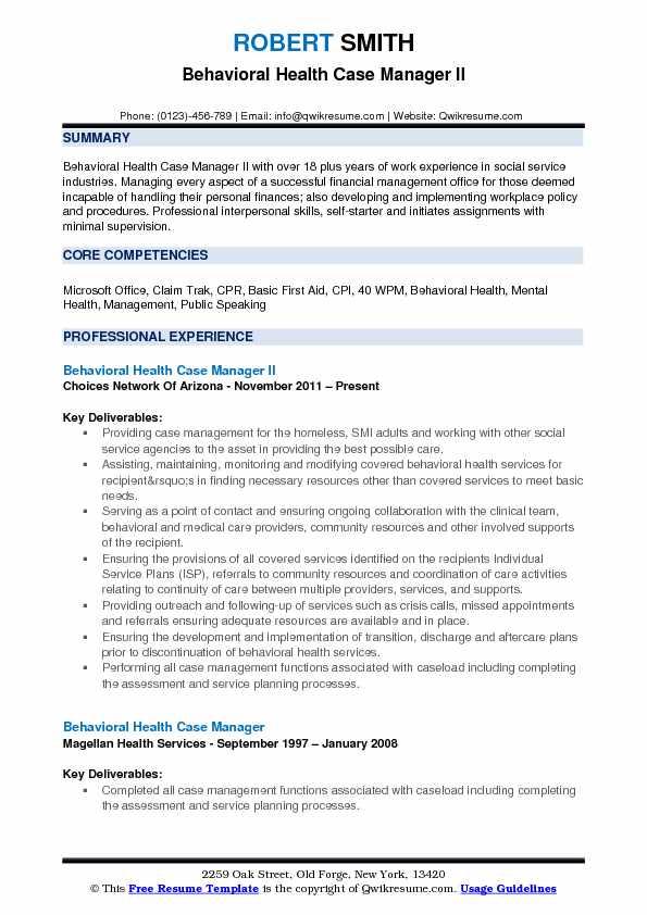 behavioral health resume template