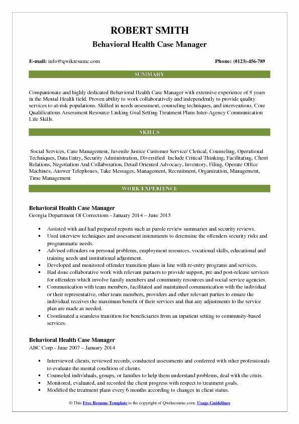 Behavioral Health Case Manager Resume Samples QwikResume