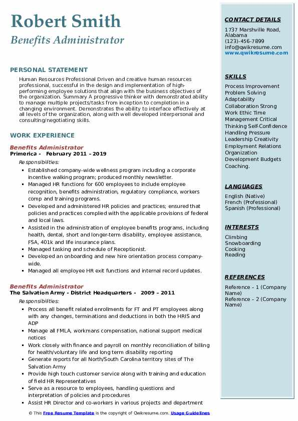 benefits administrator resume example