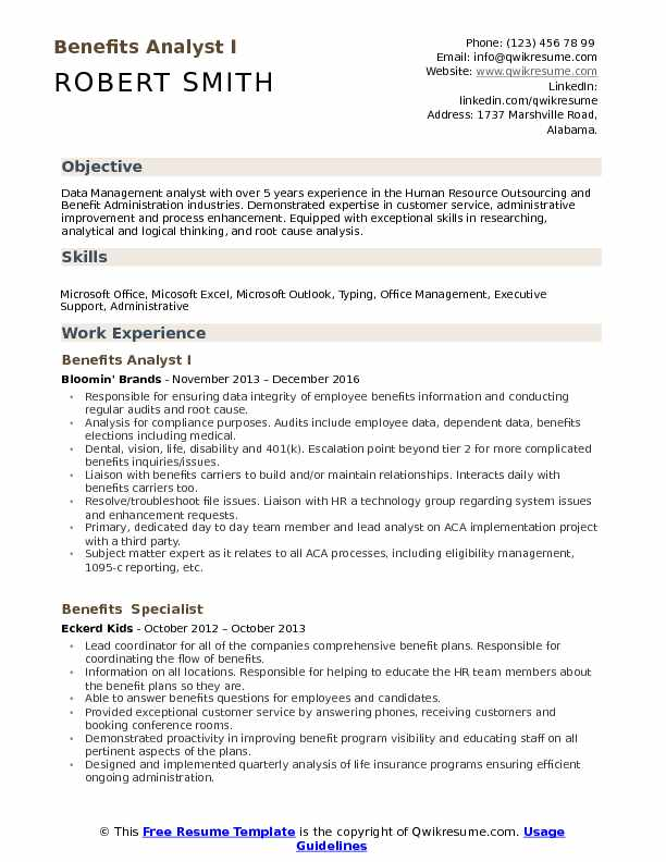 Benefits Analyst Resume Samples QwikResume