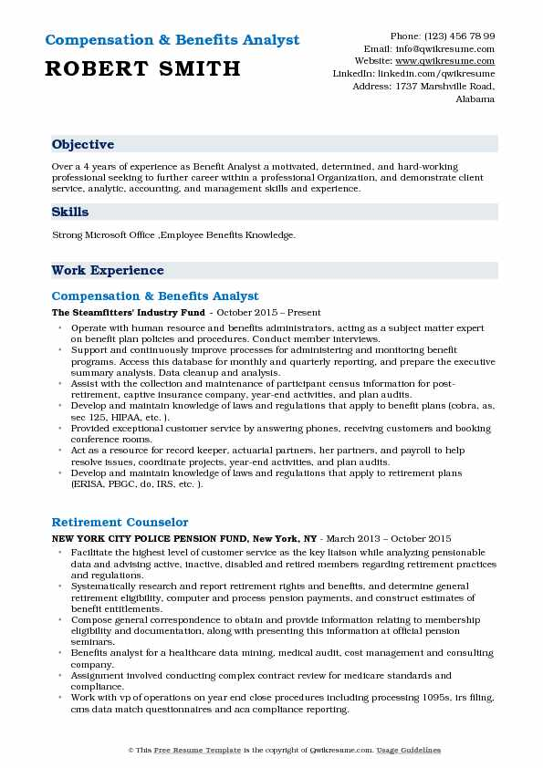Benefits Analyst Resume Samples QwikResume - Compensation Analyst Resume