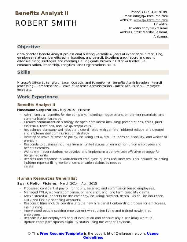 benefits administrator sample resume with objective - Thevillas - benefits administrator sample resume