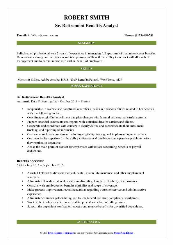 Benefits Analyst Resume Samples QwikResume - pension specialist sample resume