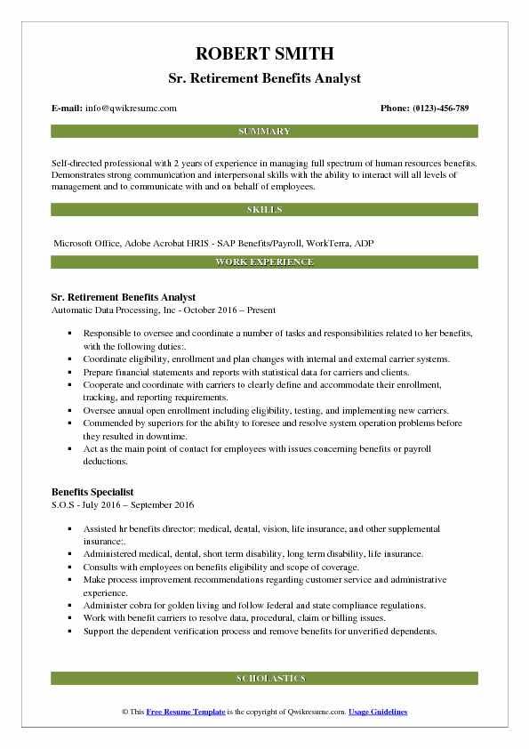 Benefits Analyst Resume Samples QwikResume