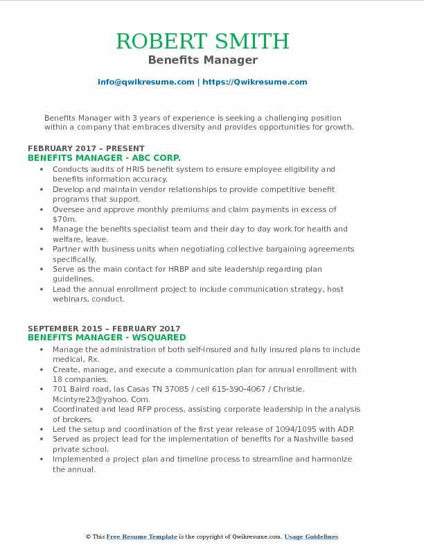 Benefits Manager Resume Samples QwikResume - benefits manager resume