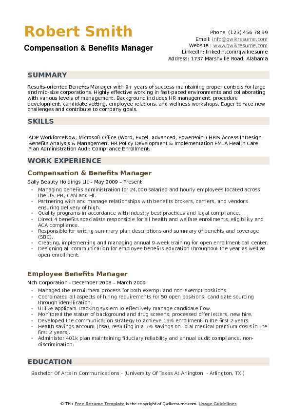 compensation and benefits manager resume sample
