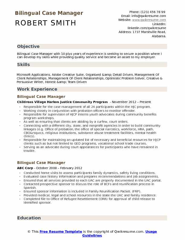 Bilingual Case Manager Resume Samples QwikResume - case management resume
