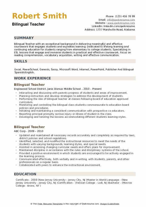 bilingual in spanish on resume