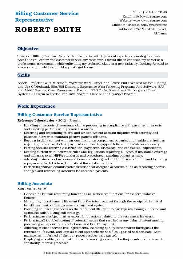 Billing Customer Service Representative Resume Samples QwikResume