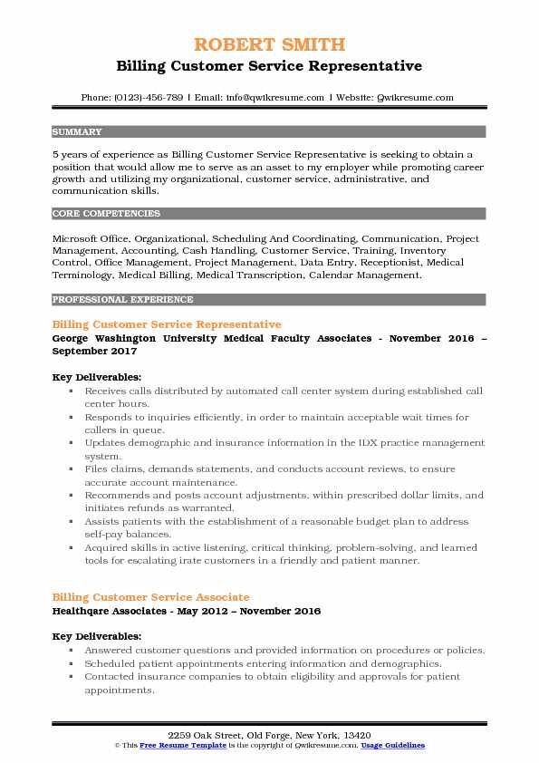 Billing Customer Service Representative Resume Samples QwikResume - patient service representative resume