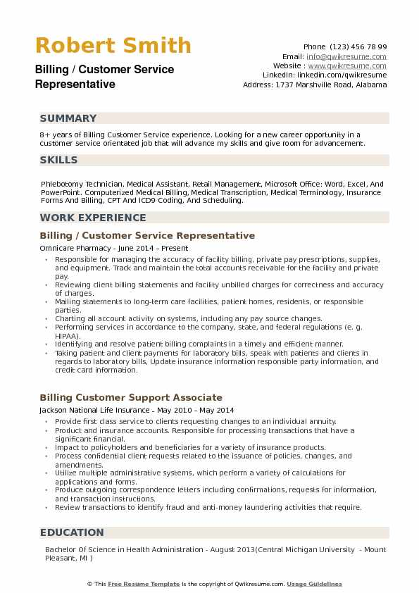 Billing Customer Service Representative Resume Samples QwikResume