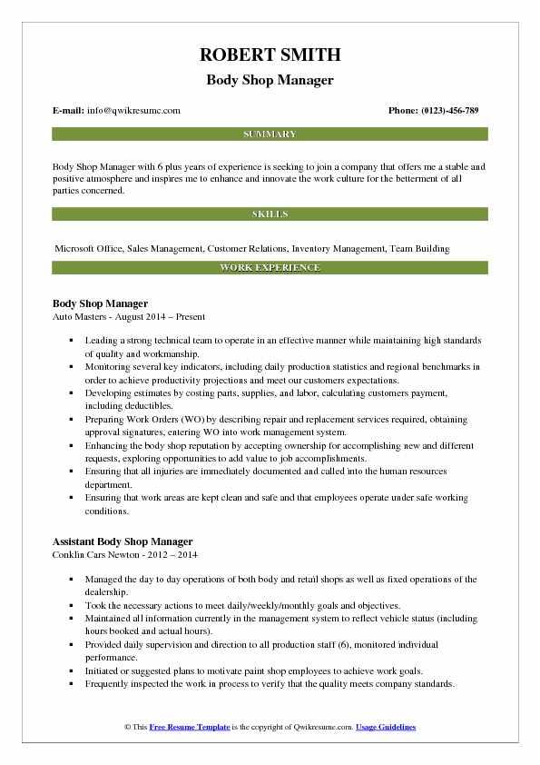 Body Shop Manager Resume Samples QwikResume - body shop manager sample resume