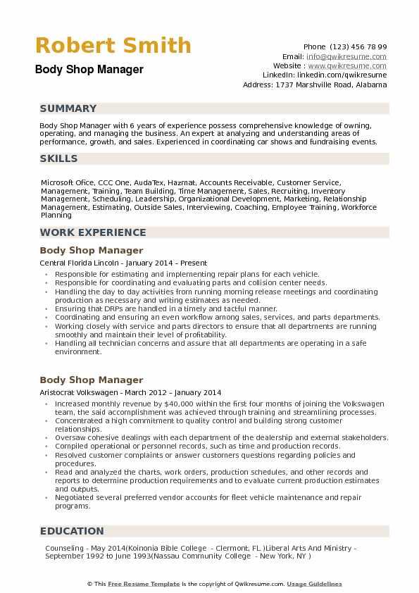 sample resume for machine shop manager