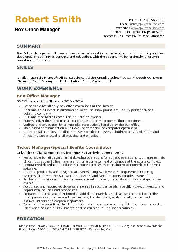Box Office Manager Resume Samples QwikResume