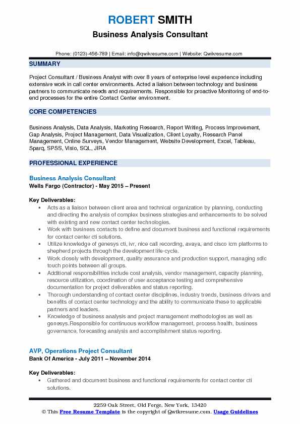 Business Analyst Consultant Resume Samples QwikResume - Business Resume Example
