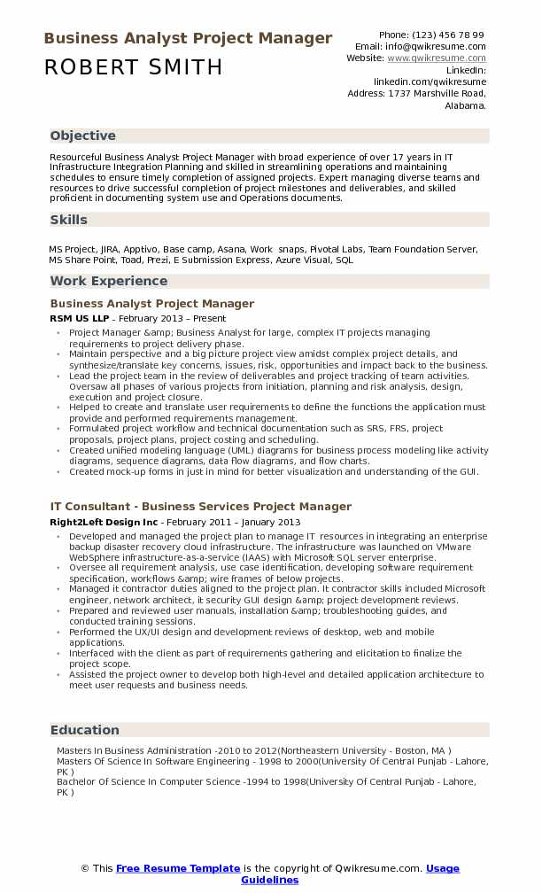 Business Analyst Project Manager Resume Samples QwikResume - Camp Manager Sample Resume
