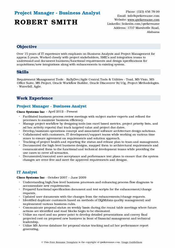 Business Analyst Project Manager Resume Samples QwikResume - business analyst resume format