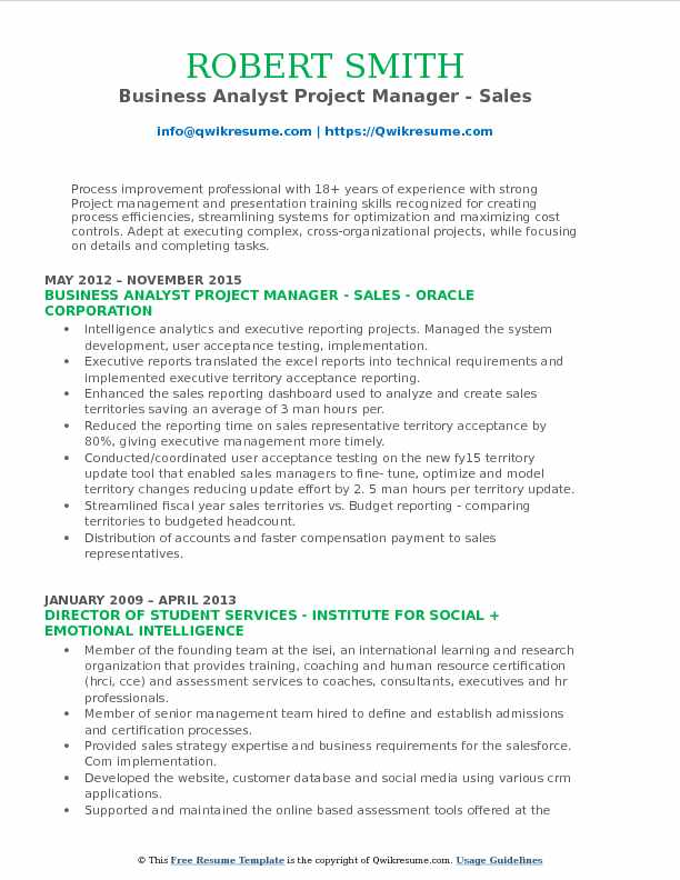 Business Analyst Project Manager Resume Samples QwikResume - Resume Examples For Business Analyst