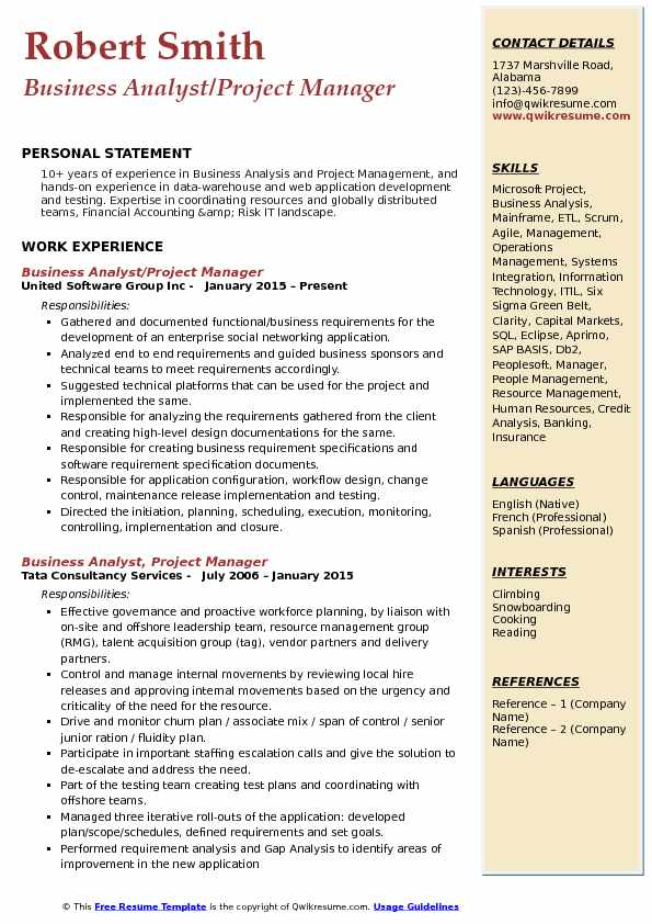 itil business analyst resume template