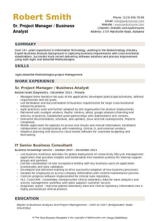 Business Analyst Project Manager Resume Samples QwikResume - Agile Business Analyst Resume