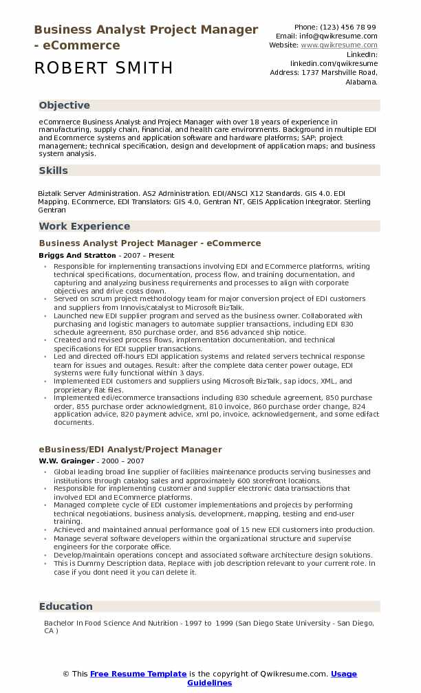 resume summary business analyst