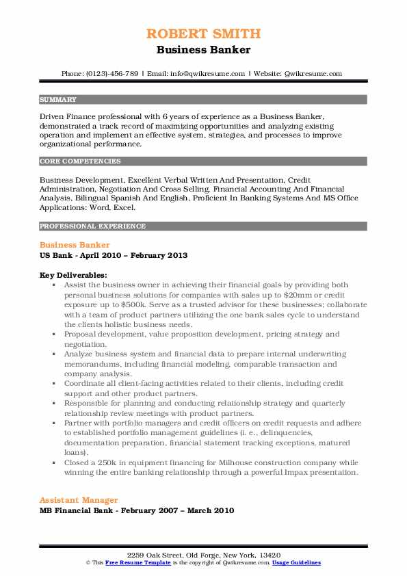 sample of business development banker resume