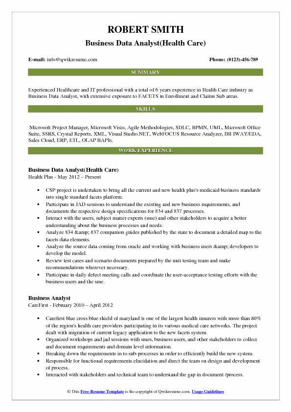 resume samples for business system analyst