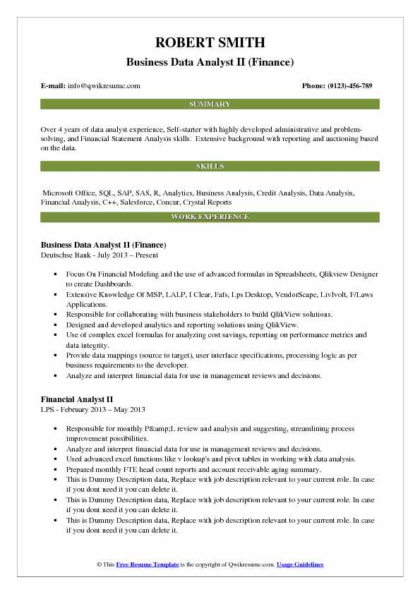 Business Data Analyst Resume Samples QwikResume