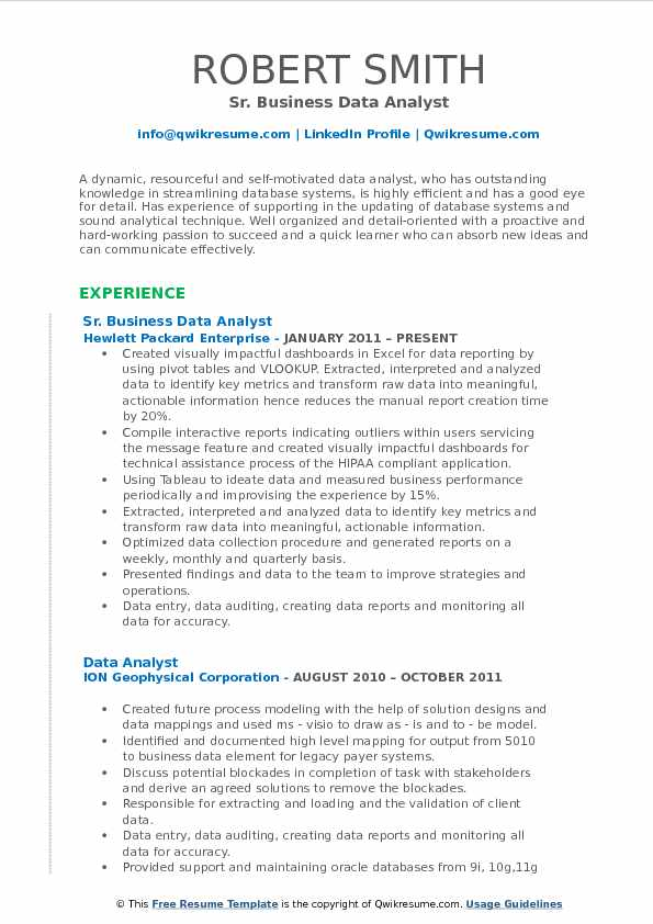 Quick Learner Resume Business Data Analyst Resume Samples | Qwikresume