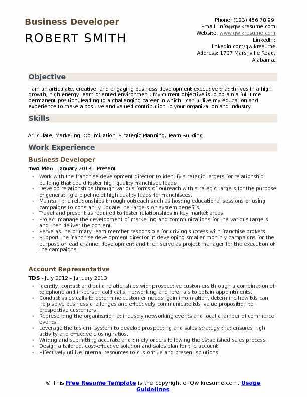 Business Developer Resume Samples QwikResume