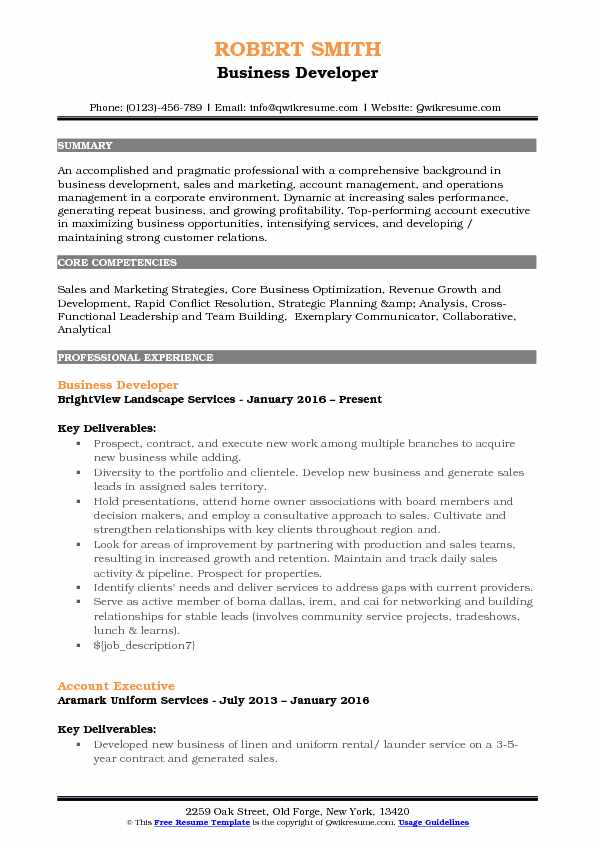 Business Developer Resume Samples QwikResume