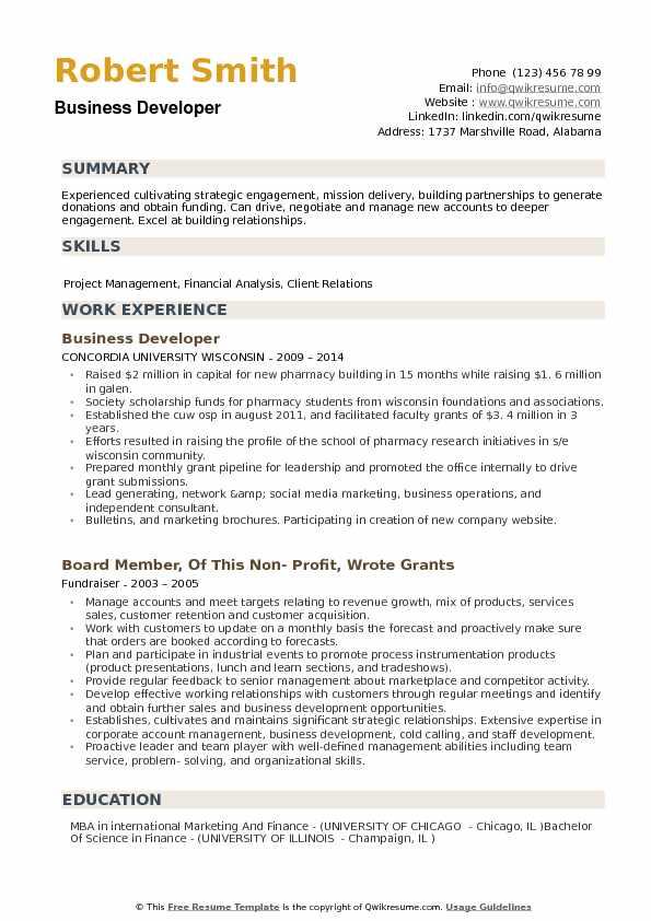 Business Developer Resume Samples QwikResume - business developer resume