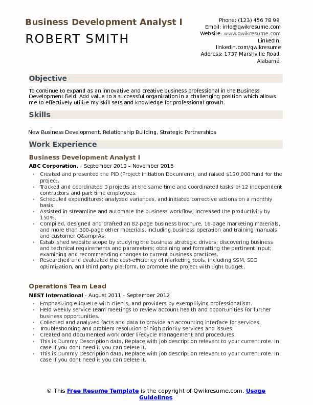 Business Development Analyst Resume Samples QwikResume