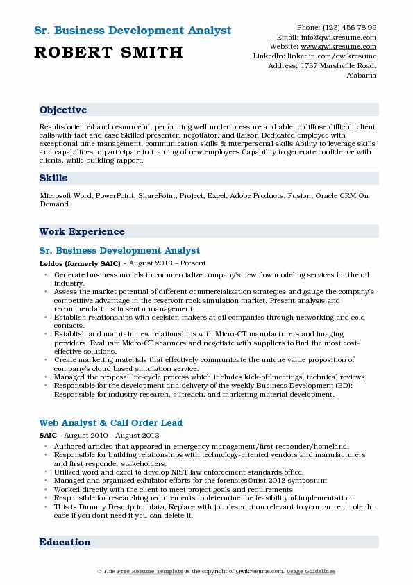 Business Development Analyst Resume Samples QwikResume