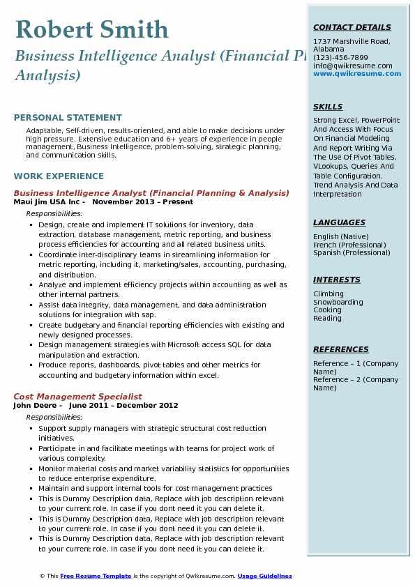 microsoft access resume