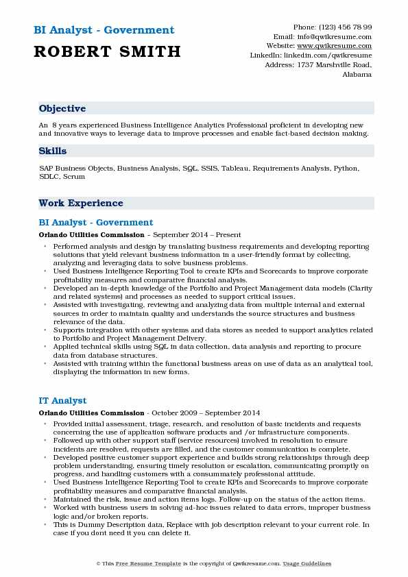 Business Intelligence Analyst Resume Samples QwikResume - business intelligence sample resume