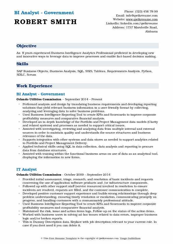 data analysis resume samples