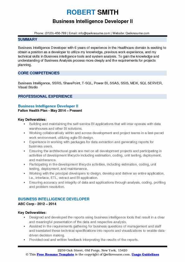 business intelligence resume template