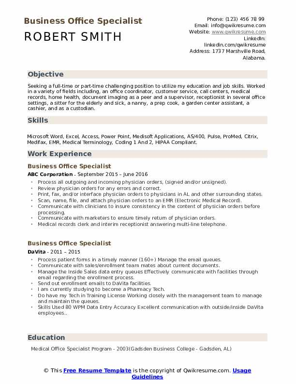 resume templates free for office specialist