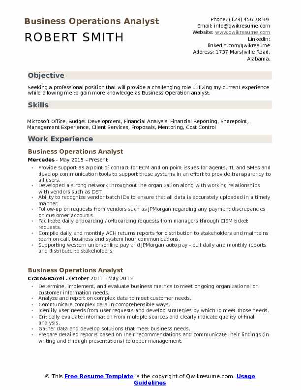 Business Operations Analyst Resume Samples QwikResume - Business Resume