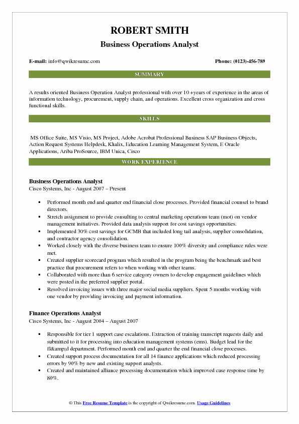 Business Operations Analyst Resume Samples QwikResume - operations analyst resume